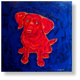 RED PUP LABRADOR 80 : 80 cm acrylic paint, canvas