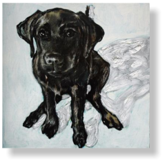LABRADOR PUP 8 WEEKS  80 : 80 cm acrylic paint, mixed media, canvas