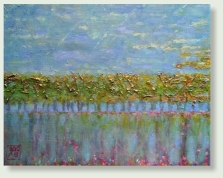 DUTCH LANDSCAPE 24 : 30 cm acrylic paint, dried rosemary, goldleaf, linen  €