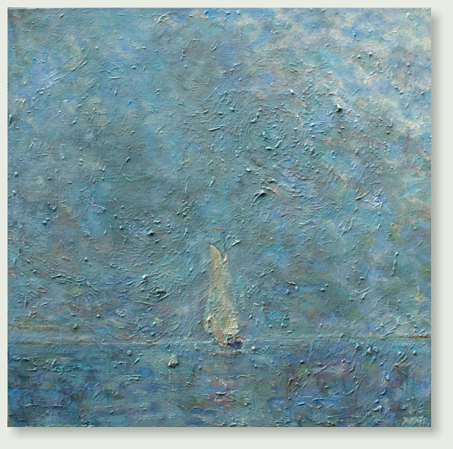 DUTCH SKY SAILBOAT TJALK IJSSELMEER 120 :120 cm acrylic paint, gel, goldleaf, linen   €