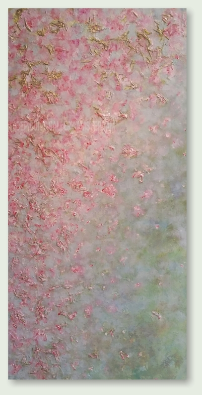 BLOSSOM GREEN 40 : 80 cm acrylic paint, dried herbs, gold pigment, linen  €
