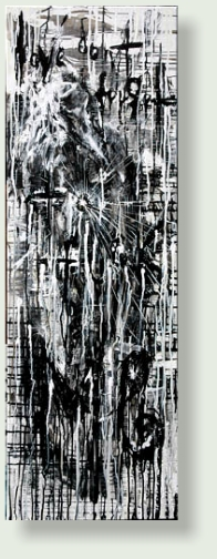 DON'T FORGET 2 FCK ME -1  40 : 120 cm acrylic paint, ink, charcoal, canvas